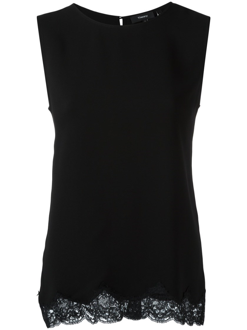 Theory Lace Hem Tank Top In Black