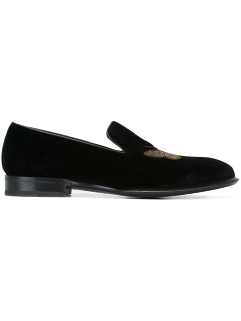 Alexander Mcqueen Feather Embroidered Velvet Loafers In Black