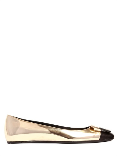 Roger Vivier 10Mm U Look Mirror Leather Ballerinas, Gold/Black
