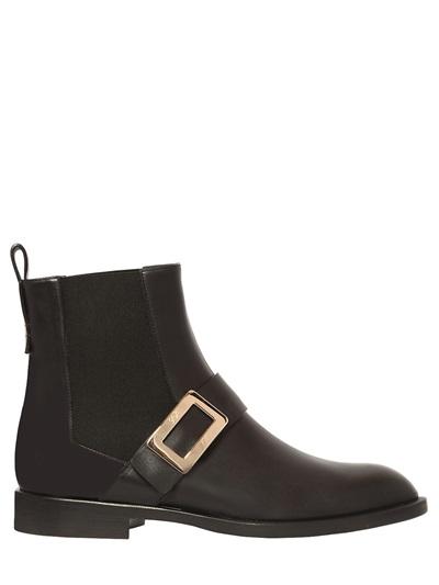 Roger Vivier 20Mm Masculine Chelsea Leather Boots, Black