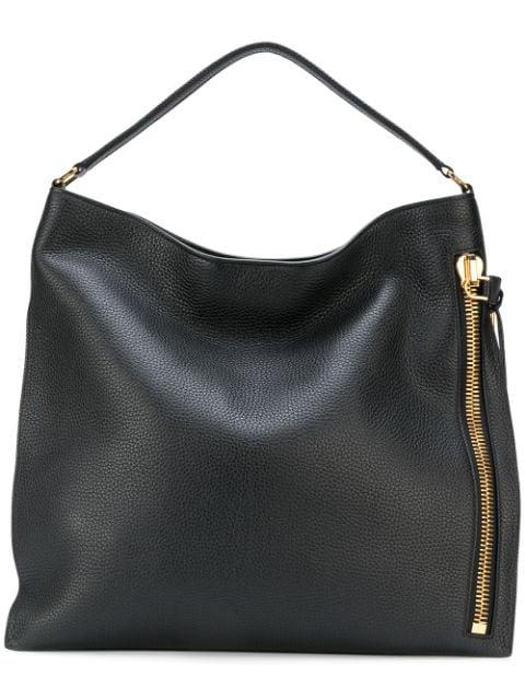 Tom Ford Hobo-tasche Mit Seitlichem Reißverschluss In Black