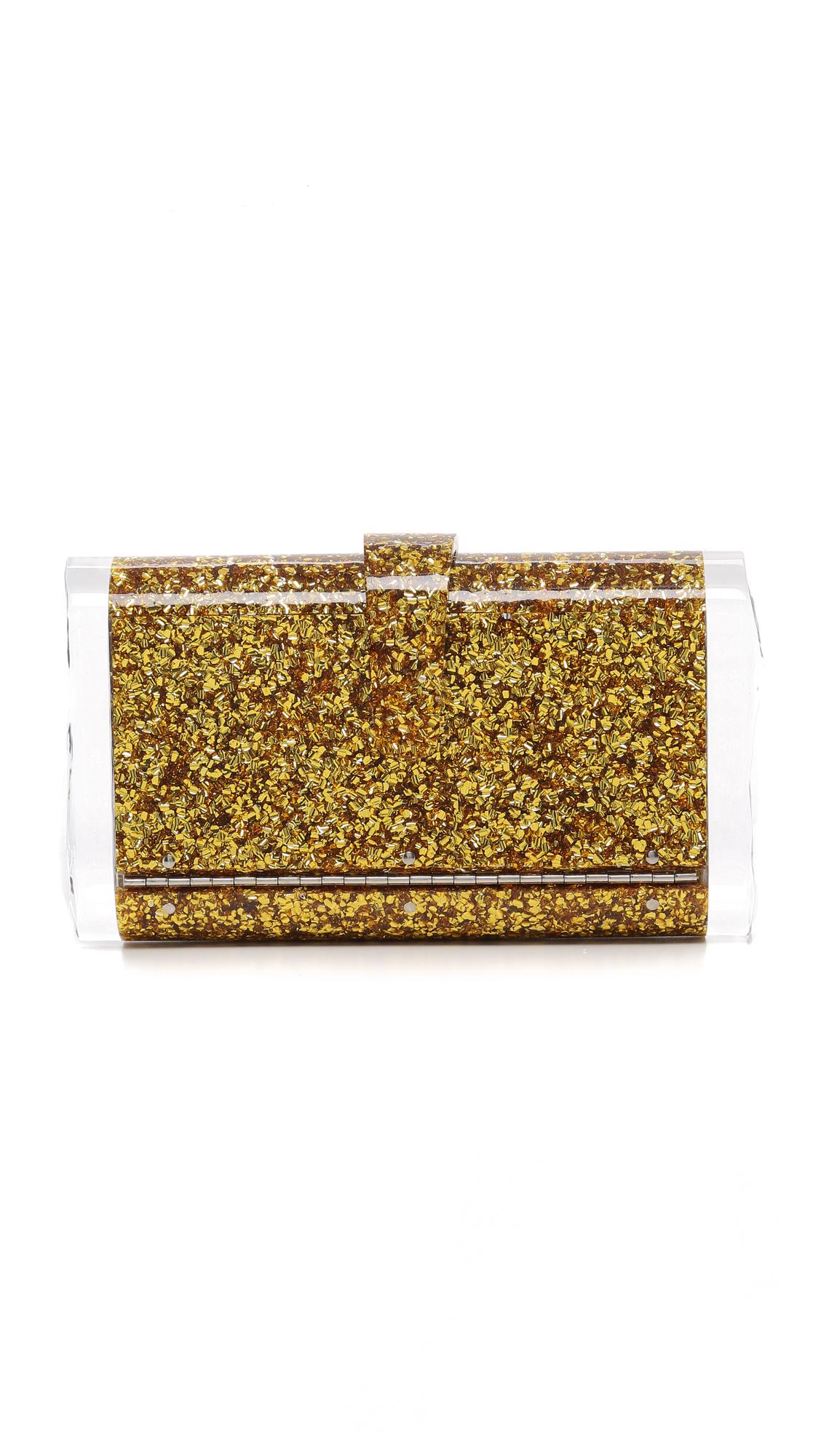 Edie Parker Lara Solid Clutch In Gold Confetti