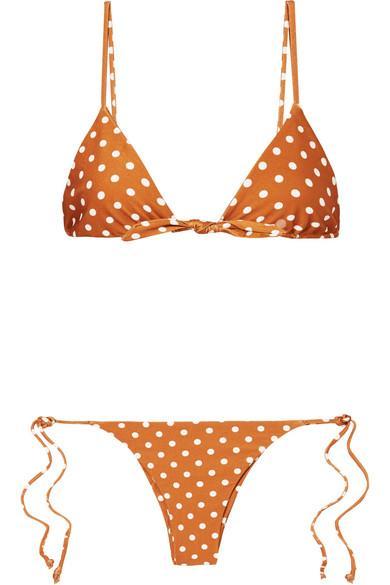 2bcb6899fbf Polka-Dot Triangle Bikini in Copper