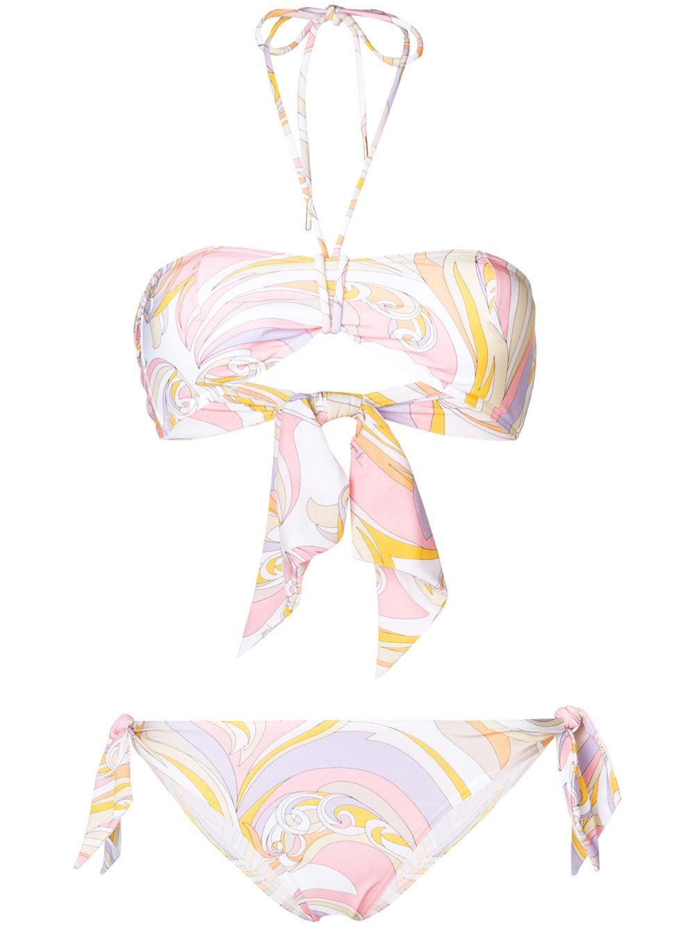 e7151f805d19 Emilio Pucci Printed Bandeau Bikini Set - White