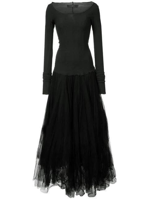 Marc Le Bihan Flared Longsleeved Tulle Dress In Black