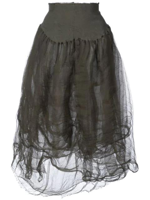Marc Le Bihan High-Waisted Tulle Skirt - Green
