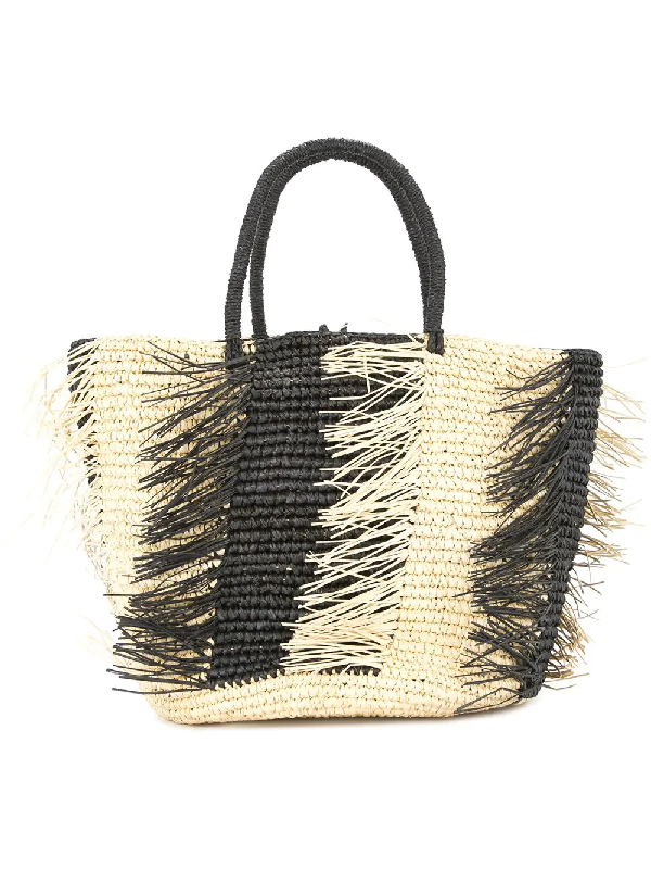 b75725fb8e8 Two-Tone Straw Tote Bag in Neutrals