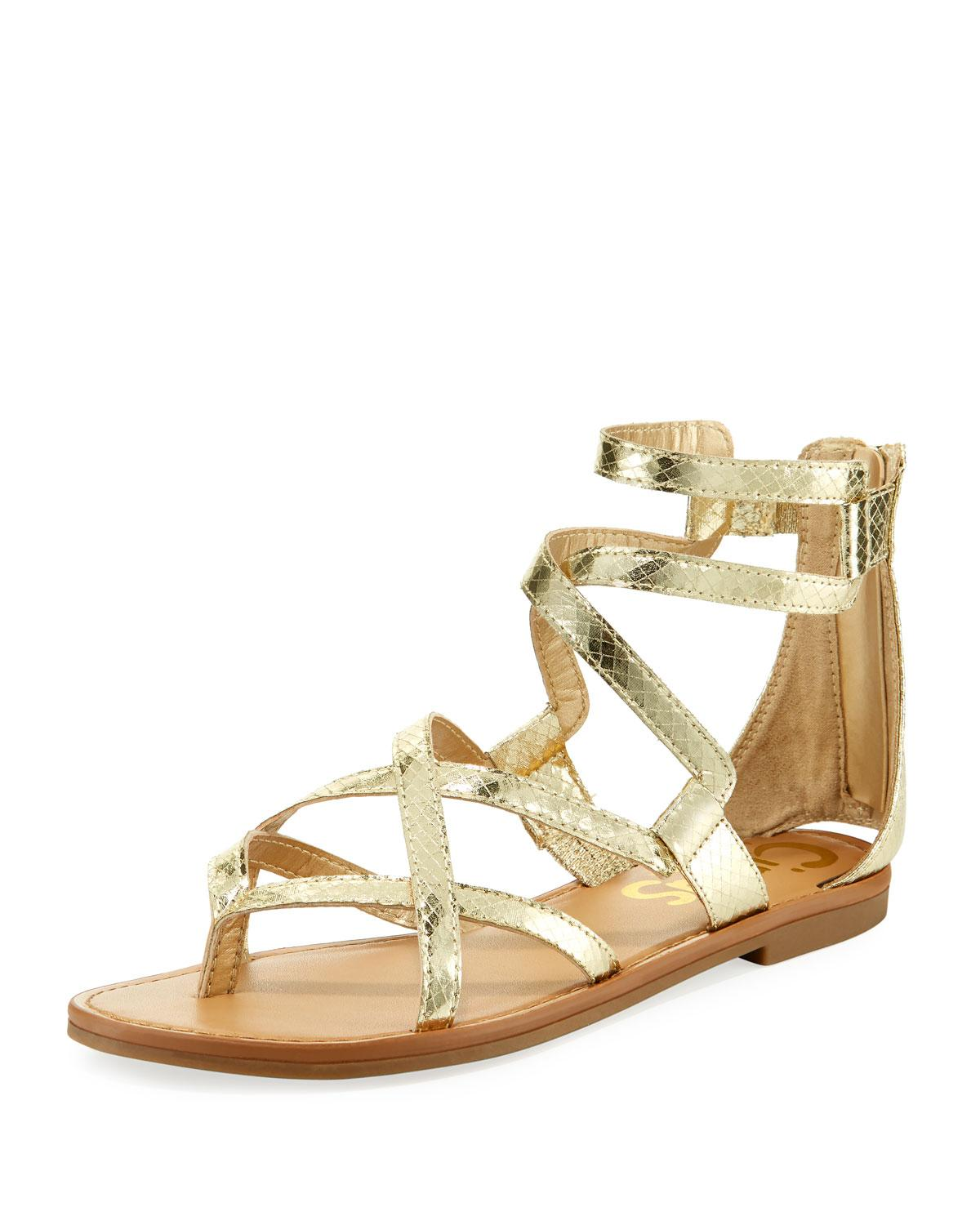 cc17d54226b806 CIRCUS BY SAM EDELMAN. Bevin Metallic Strappy Flat Gladiator Sandal in Gold