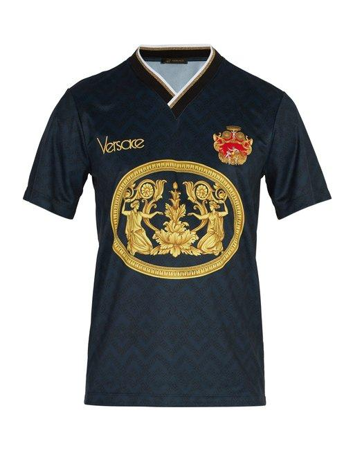 bd692fa2 Versace Archive-Print Football V-Neck T-Shirt In Navy   ModeSens