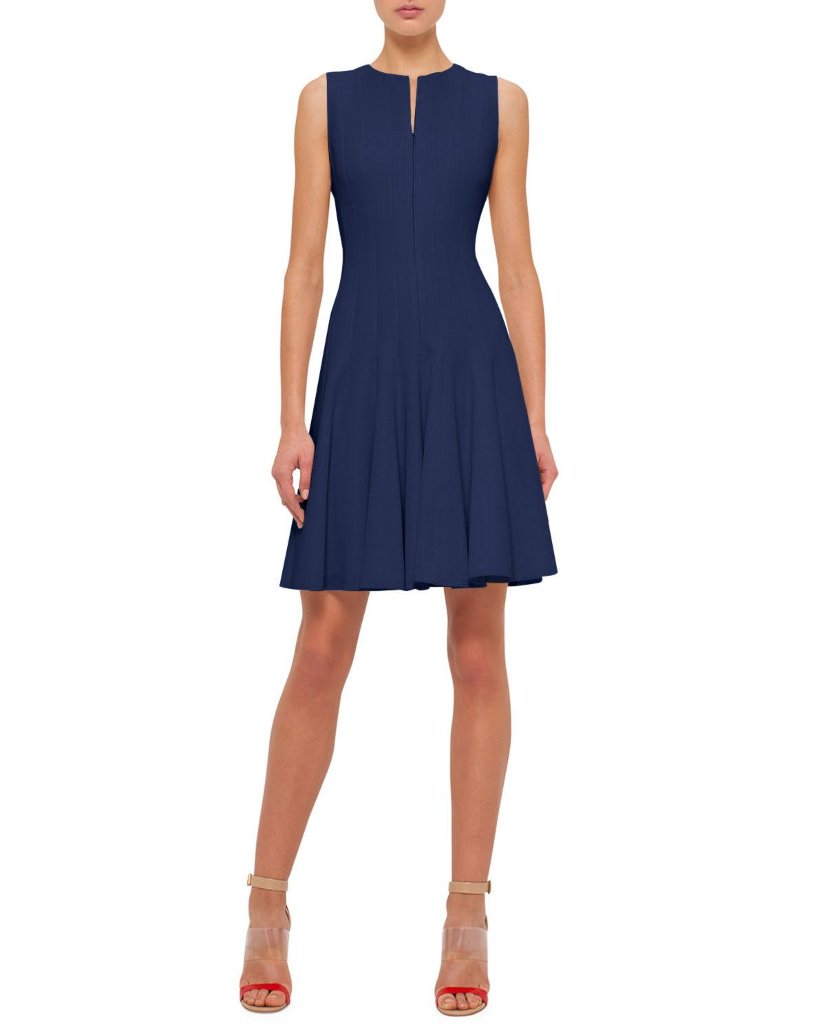 Akris Sleeveless Zip-Front Seamed A-Line Dress In Navy