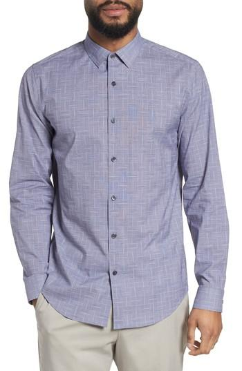 Theory Murrary Indy Regular Fit Solid Cotton & Linen Sport Shirt In Finch