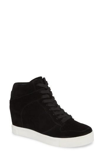 938ecc4f856 Steve Madden Noah Hidden Wedge Sneaker In Black Suede
