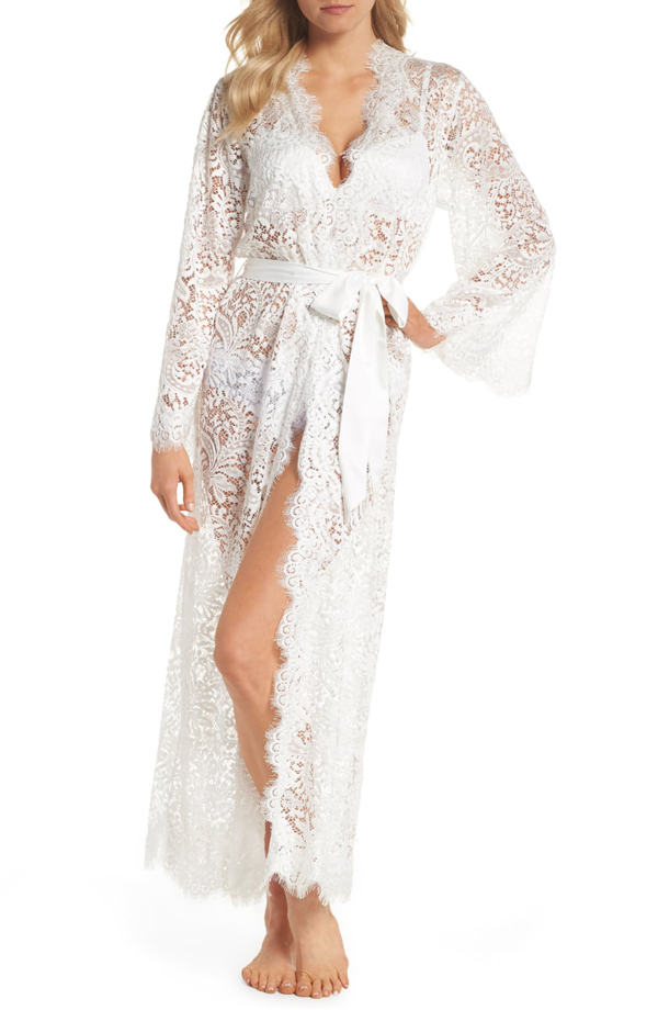 Homebodii Helena Long Chiffon & Lace Wrap In White