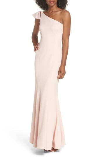 98c86219e621 Vince Camuto Ruffled One-Shoulder Gown In Blush | ModeSens