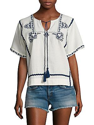 Ella Moss Marini Embroidered Top In Natural