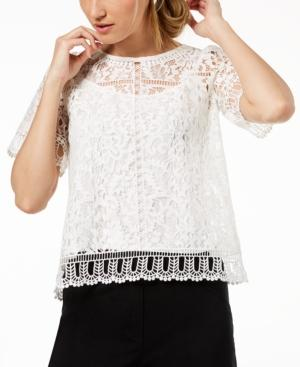 133519a6fdc French Connection Arta Lace & Openwork Top In Linen White | ModeSens