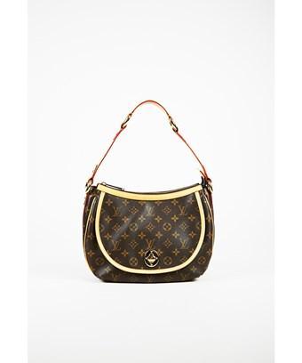 """Louis Vuitton 1  Brown Monogram Canvas & Leather """"Tulum"""" Pm Flap Bag"""