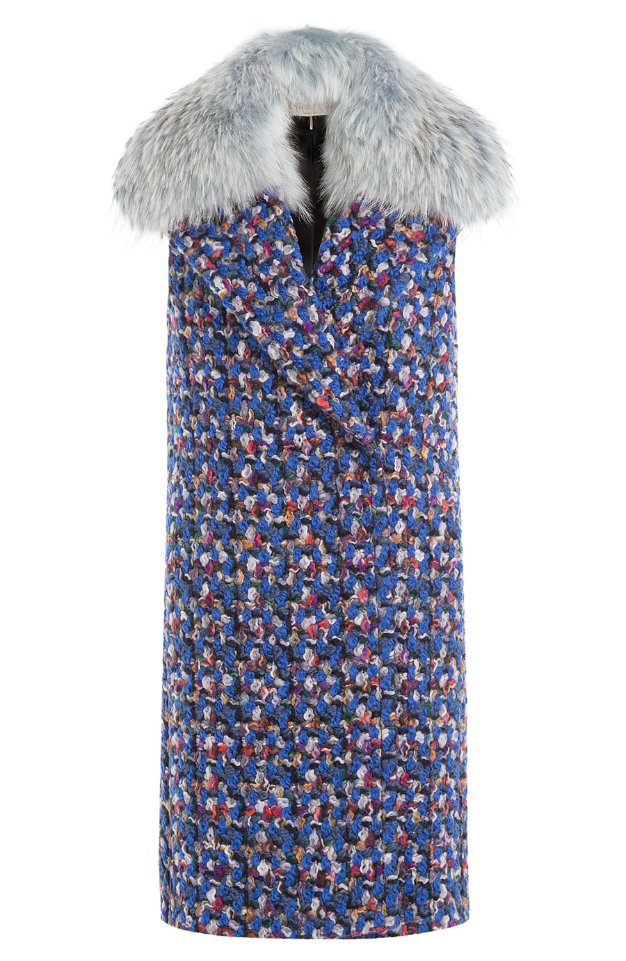 Emilio Pucci Virgin Wool Sleeveless Coat With Fur Collar In Multicolored