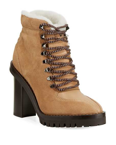 Valentino Trekking Ankle Bootie With Genuine Shearling Trim In Black