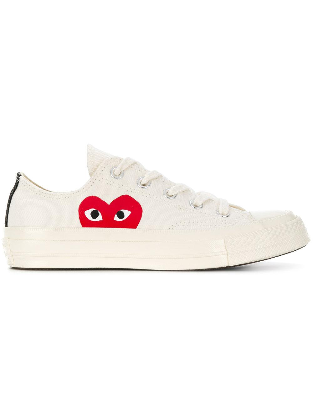 c0631814e203 Converse Comme Des GarçOns Play X Heart Printed Flat Sneakers In Neutrals