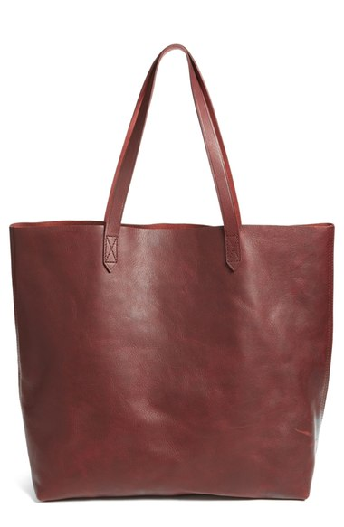 Madewell 'transport' Leather Tote - Burgundy In Dark Cabernet