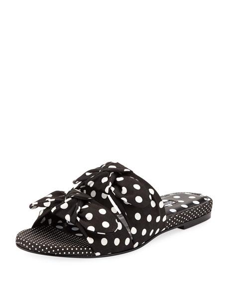 d10404fc792c1 Charles David Souffle Polka-Dot Bow Slide Sandal In Black/White ...