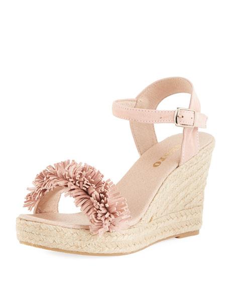 4791ff2400d63 Sesto Meucci Olexa Suede Fringe Wedge Sandals, Medium Pink | ModeSens