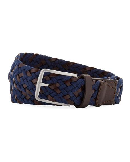 Neiman Marcus Men's Braided Leather Belt In Navy
