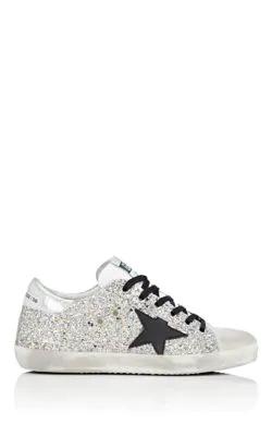 Golden Goose Superstar Glitter Fabric & Suede Low-Top Sneakers In Silver