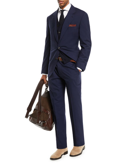 Brunello Cucinelli Men's Solid Wool-Blend Two-Piece Travel Suit In Blue
