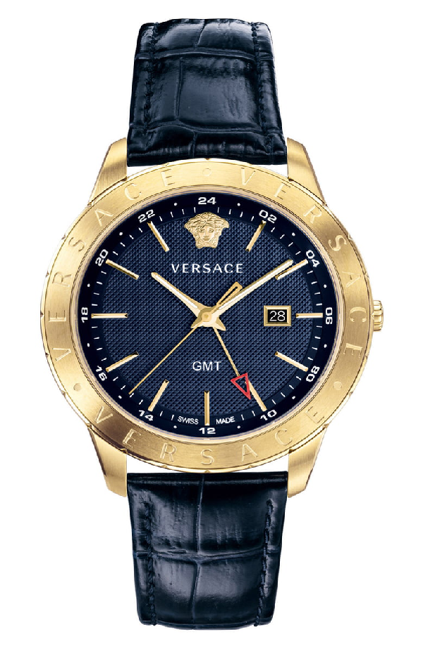 Versace Collection Business Slim Blue Croc-Embossed Leather Watch, 43Mm In Blue/ Gold