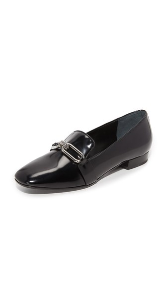 Michael Kors Lennox Spazzolato Leather Loafers In Black