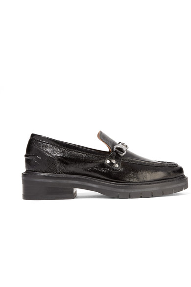 Rag & Bone Curtis Textured Patent-leather Loafers In Black
