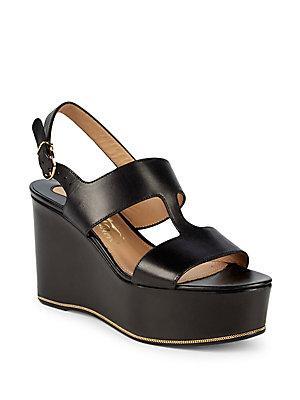 Salvatore Ferragamo Fiamma Leather Wedge Sandals In Black