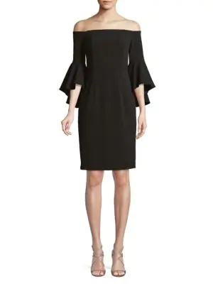 Calvin Klein Off-The-Shoulder Ruffled Bell-Sleeve Dress In Black