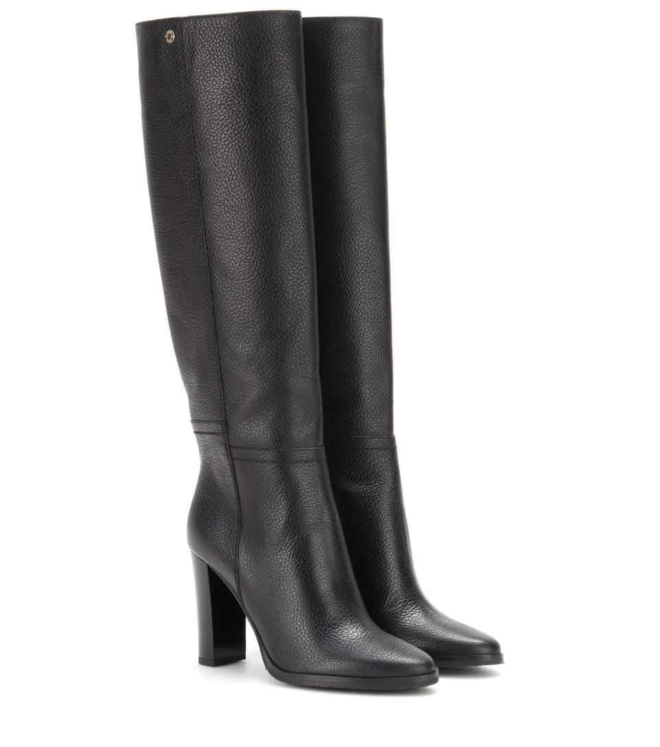 Jimmy Choo Haywood 95 Black Embossed Grainy Leather Knee High Boots