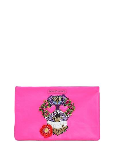 Manish Arora Skull Embellished Leather Pouch, Fuchsia