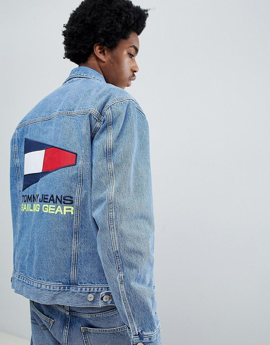 5f43cbbb Tommy Jeans 90S Sailing Capsule Denim Jacket With Back Flag Logo In Mid  Wash - Blue