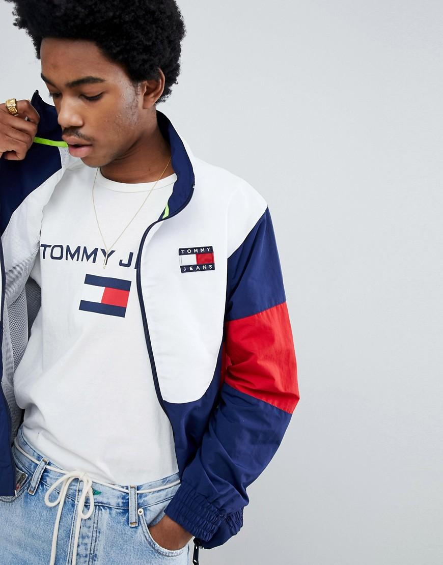 31a05a48c Tommy Jeans 90S Sailing Capsule Track Jacket In Navy/White/Red - Navy