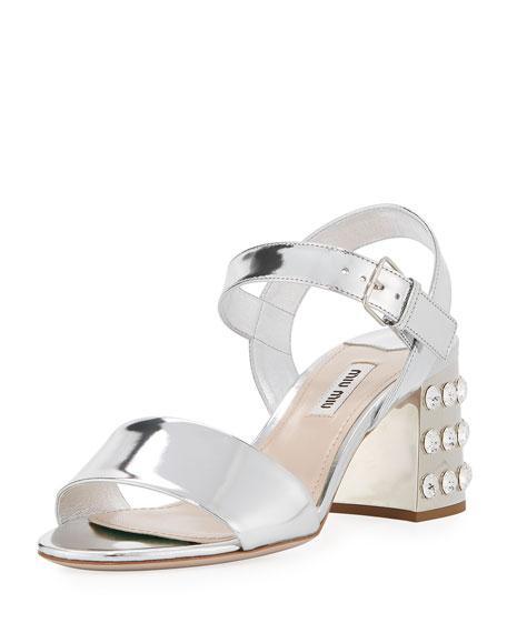 Miu Miu Jeweled-Heel 65Mm Mirrored Leather Sandal In Silver