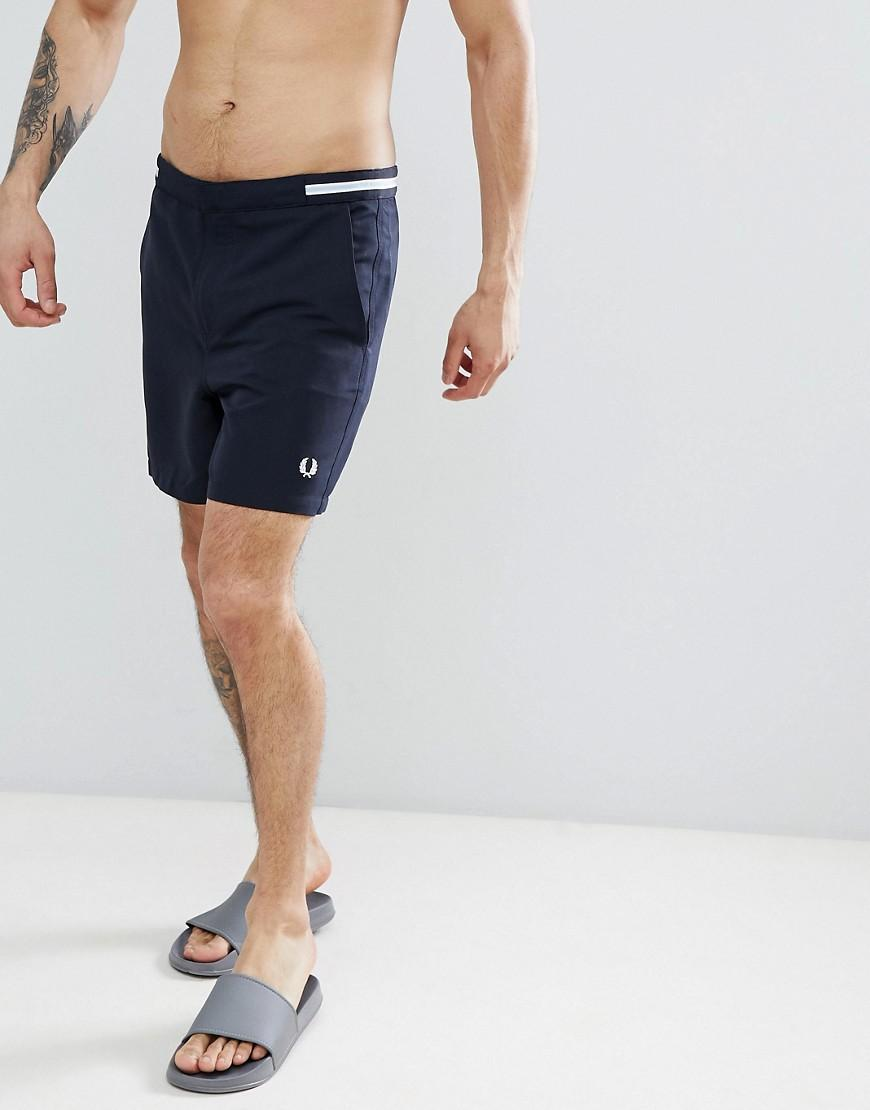8728e1ba2df43 Fred Perry Riviera Tape Swim Shorts In Navy - Navy | ModeSens