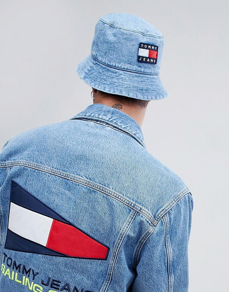 7e49edd73a Tommy Jeans 90S Sailing Capsule Flag Logo Denim Bucket Hat In Mid Wash -  Blue