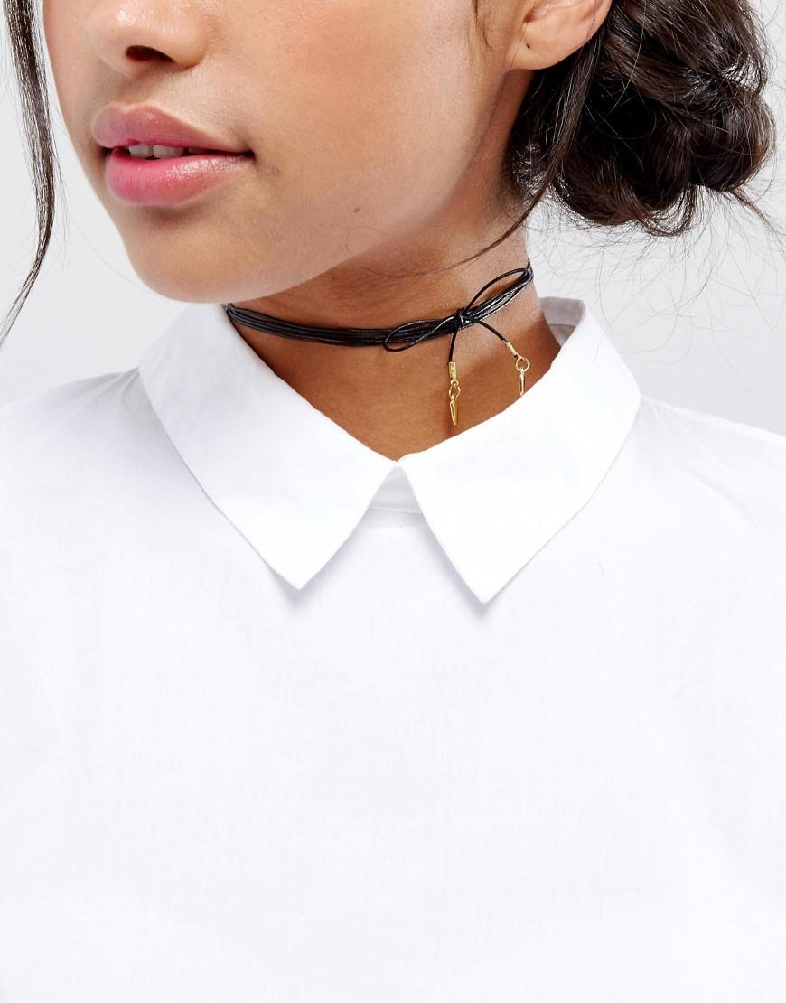 baa2556ea75 Vanessa Mooney Leather Bolo Choker Necklace With Gold Plated Charms - Black