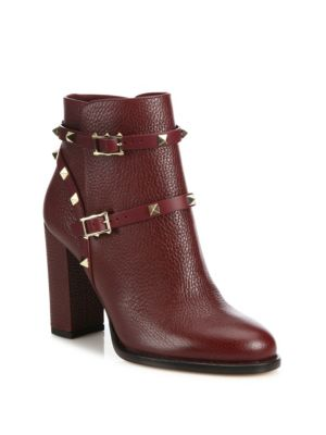 Valentino Garavani Rockstud Pebbled Leather Block Heel Booties In Wine
