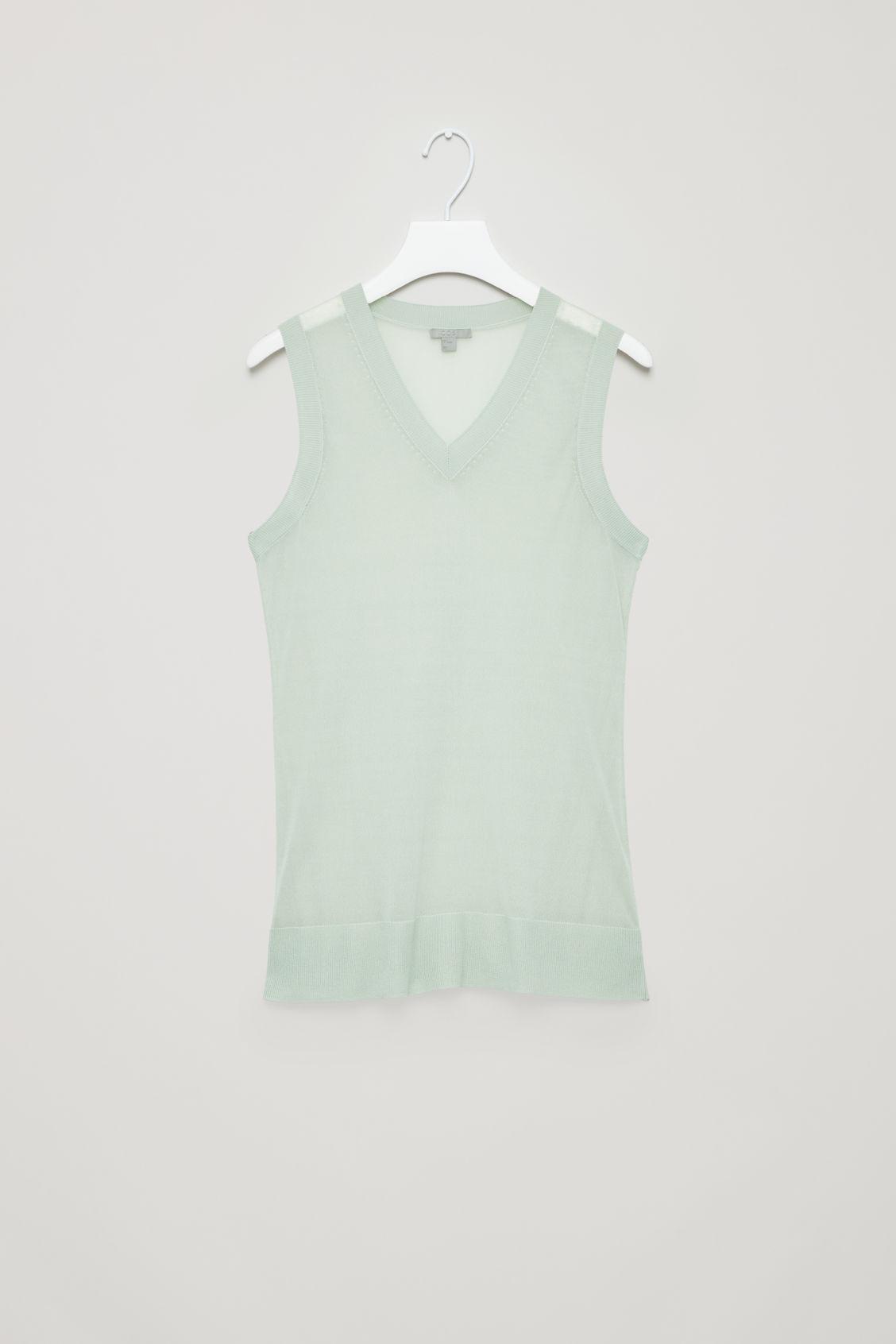 Cos Sleeveless Sheer Vest In Green