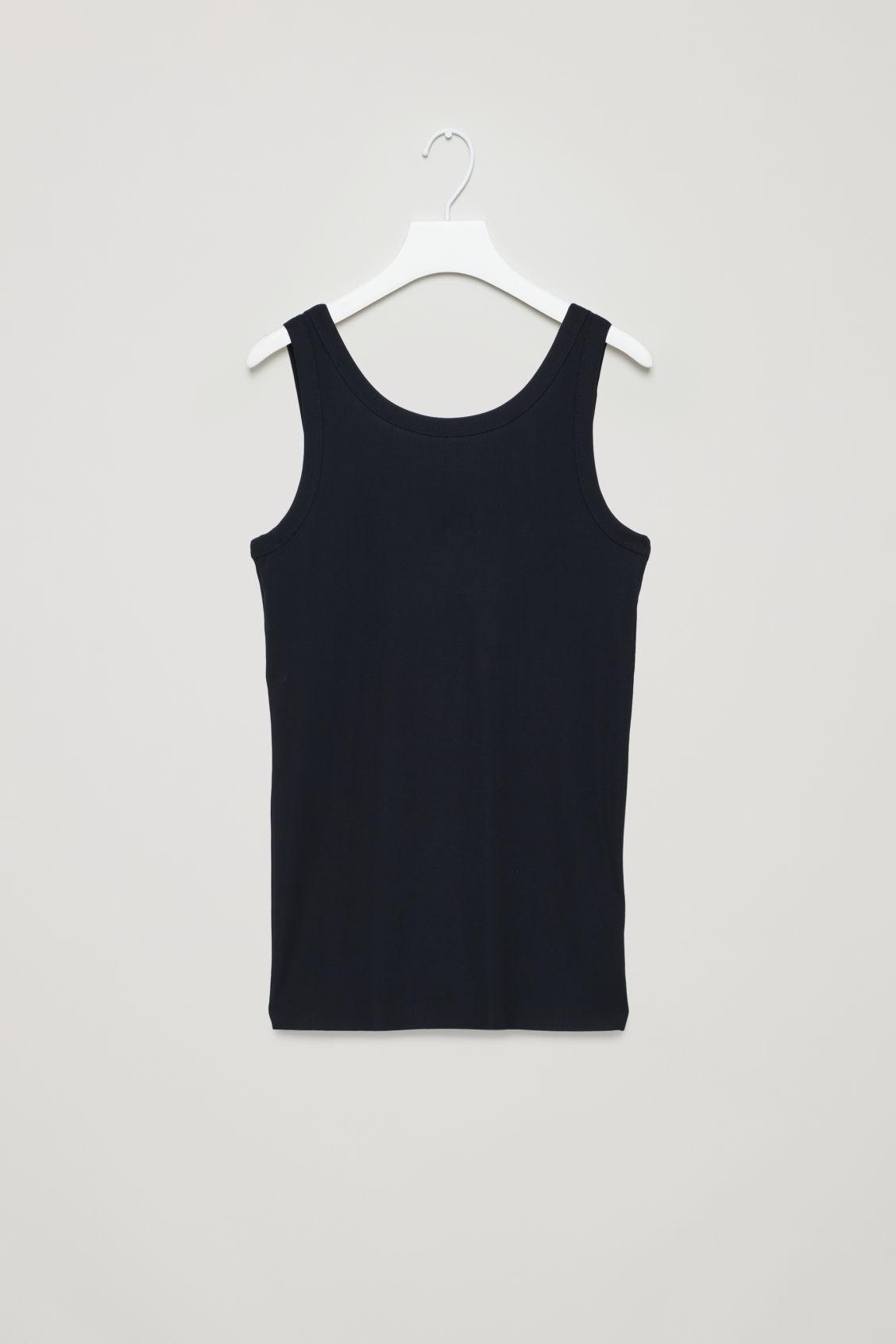 Cos Low-Back Ribbed Vest In Blue
