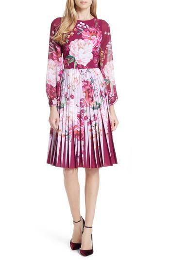dfafbe58de Ted Baker Esperan Serenity Contrast Pleated Skirt Dress In Brown ...