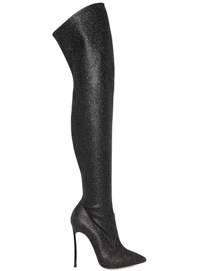Casadei 115Mm Glittered Over The Knee Boots, Black