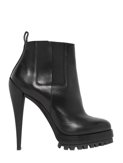 Casadei 130Mm Sculpture Leather Ankle Boots, Black