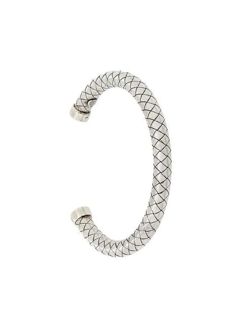 Bottega Veneta Intrecciato Silver Bracelet In Metallic